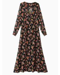 Robe longue en chiffon à fleurs noire