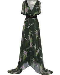 Robe longue en chiffon à fleurs noire Marni
