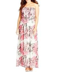 Robe longue en chiffon à fleurs rose