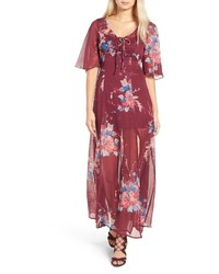 Robe longue en chiffon à fleurs rouge