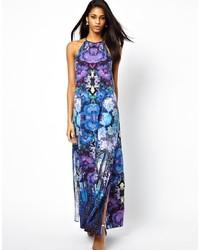 Robe longue en chiffon à fleurs violette Asos