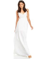 Robe longue en crochet blanche