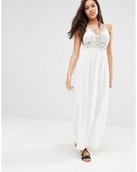 Robe longue en crochet blanche Missguided