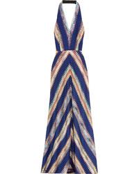 Robe longue en crochet bleu marine Missoni