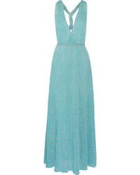 Robe longue en crochet turquoise Missoni