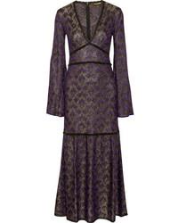 Robe longue en crochet violette Roberto Cavalli