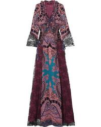 Robe longue en dentelle imprimée pourpre foncé Etro