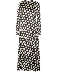 Robe longue en satin á pois noire Calvin Klein Collection