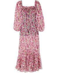 Robe longue en soie à fleurs rose