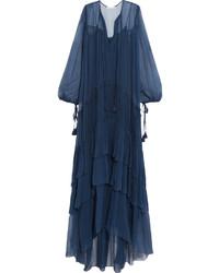 Robe longue en soie bleu marine Chloé