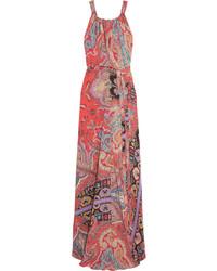 Robe longue en soie imprimée rouge