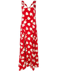 Robe longue en soie imprimée rouge Theory