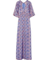 Robe longue en soie imprimée violette claire Tory Burch