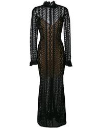 Robe longue en soie noire Ermanno Scervino