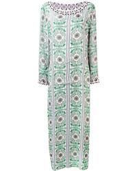Robe longue en soie ornée vert menthe Tory Burch
