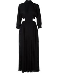 Robe longue en soie plissée noire Fendi