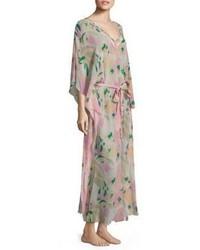 Robe longue en soie rose
