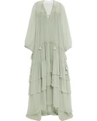 Robe longue en soie vert menthe