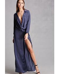 Robe longue fendue bleue marine Forever 21