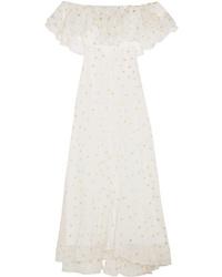 Robe longue imprimée blanche Temperley London