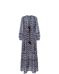 Robe longue imprimée bleue marine Tory Burch