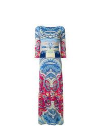 Robe longue imprimée cachemire bleu clair Etro