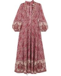 Robe longue imprimée cachemire bordeaux