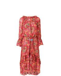 Robe longue imprimée cachemire rouge