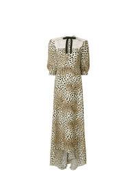 Robe longue imprimée léopard marron clair