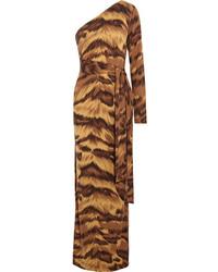 Robe longue imprimée léopard marron Diane von Furstenberg