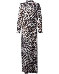 Robe longue imprimée léopard noire et blanche Diane von Furstenberg