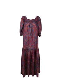 Robe longue imprimée pourpre foncé Yves Saint Laurent Vintage