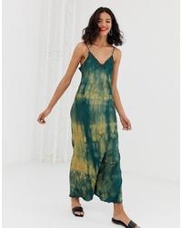 Robe longue imprimée tie-dye vert foncé Other Stories