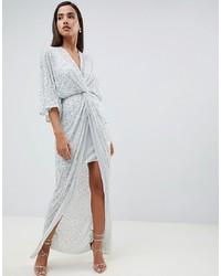 Robe longue pailletée argentée ASOS DESIGN