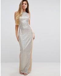 Robe longue pailletée argentée PrettyLittleThing