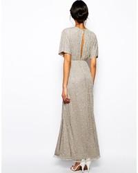 Robe longue pailletée argentée Asos