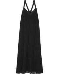 Robe longue plissée noire