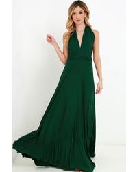 Robe longue vert foncé