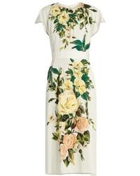 Robe midi à fleurs blanche