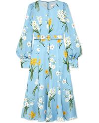 Robe midi à fleurs bleu clair