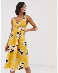 Robe midi à fleurs jaune ASOS DESIGN