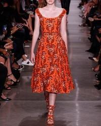 Robe midi à fleurs orange