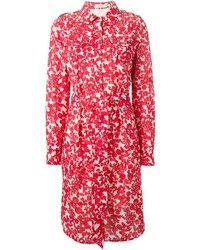 Robe midi à fleurs rouge Tory Burch