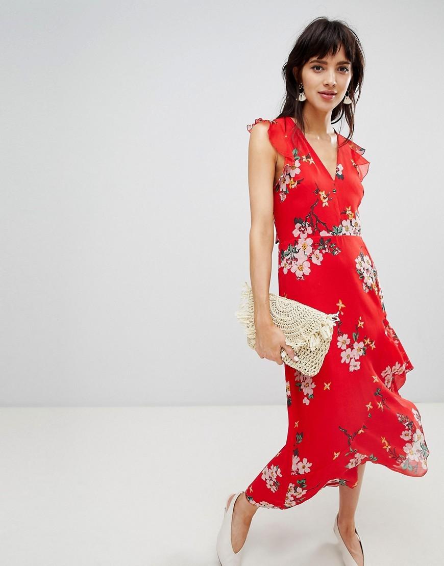 Robe rouge fleur asos