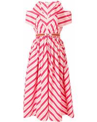 Robe midi à rayures horizontales rose Fendi