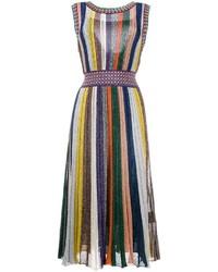 Robe midi à rayures verticales multicolore Missoni