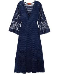 Robe midi en crochet bleu marine