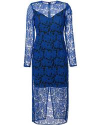 Robe midi en dentelle bleue Diane von Furstenberg