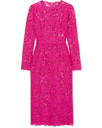 Robe midi en dentelle fuchsia Dolce & Gabbana