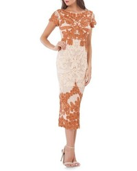 Robe midi en dentelle orange